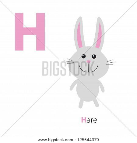 Letter H Hare Zoo alphabet. English abc with animals Education cards for kids Isolated White background Flat design Vector illustration