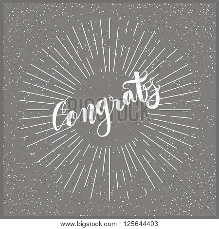 Modern calligraphy congratulations poster with a dotted background and radial rays patern. Brush lettering vectir design for posters, cards, t-shirts, banners, web. Hand lettered word in vector format