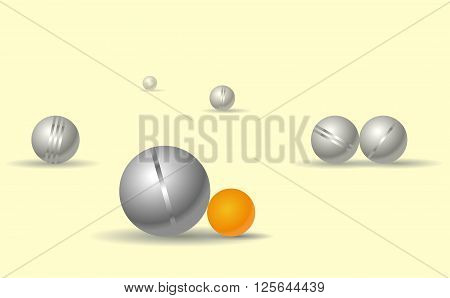 Petanque game balls on yellow background. Parlour game for leisure time. Fork perspective, horizontal composition. Bocce shading spheres with shadows. Play time. Isolated master vector illustration.