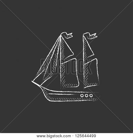 Sailboat. Drawn in chalk icon.