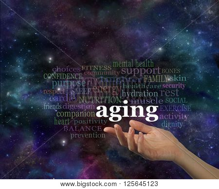 The Specifics of Aging in Your Twilight Year - female hand with the word AGING floating above surrounded by a relevant word cloud on a deep space night time background with copy space.