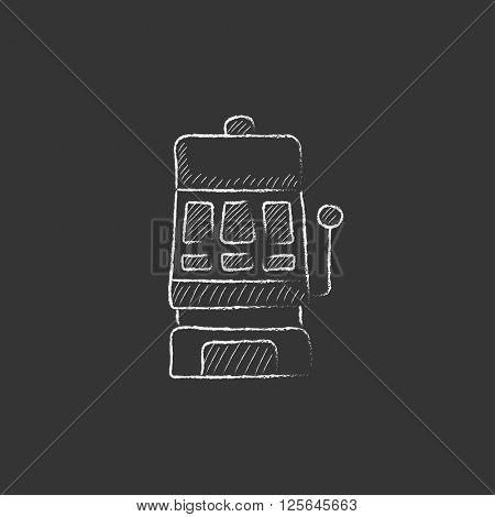 Slot machine. Drawn in chalk icon.