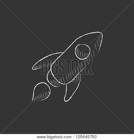 Rocket. Drawn in chalk icon.