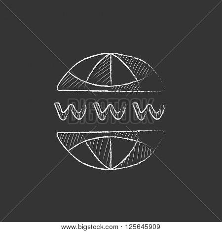 Globe internet. Drawn in chalk icon.