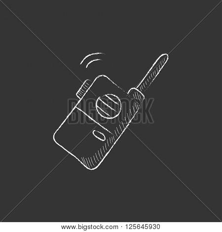 Portable radio set. Drawn in chalk icon.