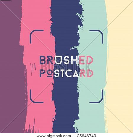 Modern grunge poster template, brush lines, colorful postcard, square hipster design