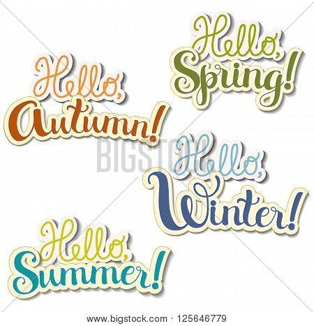 Set of positive lettering seasons ( Autumn, Summer, Spring, Winter) theme