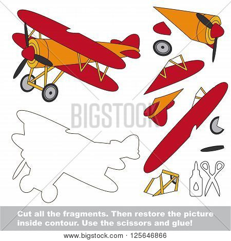Use scissors and glue and restore the picture inside the contour. Paper game for kids. Simple kid application with Biplane