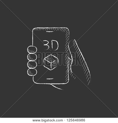 Smartphone with three D box. Drawn in chalk icon.