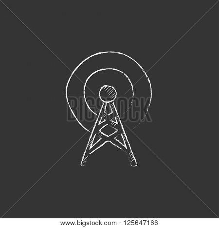 Antenna. Drawn in chalk icon.