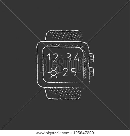 Smartwatch. Drawn in chalk icon.