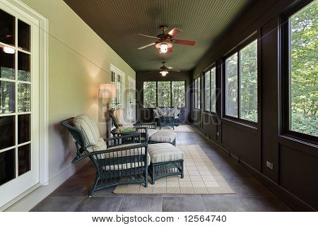 Porch With Dark Wood Paneling