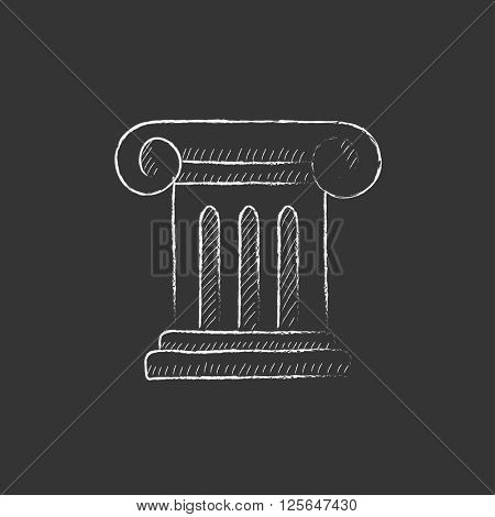 Ancient column. Drawn in chalk icon.