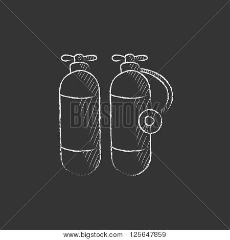 Oxygen tank. Drawn in chalk icon.