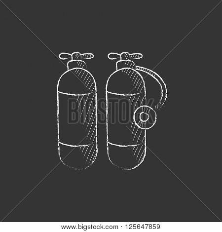 Oxygen tank. Drawn in chalk icon.