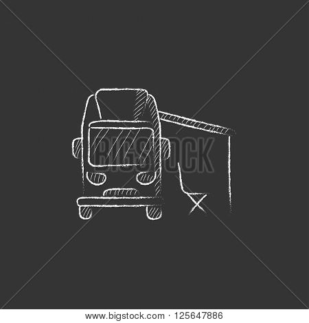 Motorhome with tent. Drawn in chalk icon.