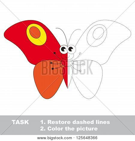 Red butterfly in vector colorful to be traced. Restore dashed line and color the picture. Visual game for children. Worksheet to be colored.