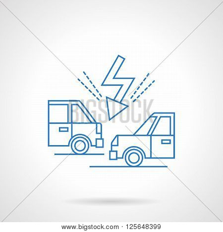 Car accident on a road. Two automobiles and lightning. Car insurance theme. Flat blue line style vector icon. Single design element for website, business.