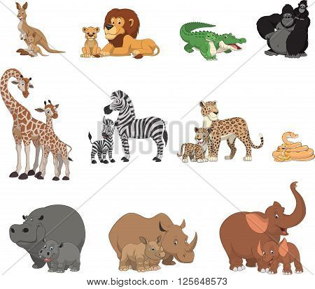 Vector illustration set of funny exotic animals, kids animals and parents