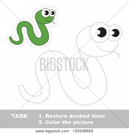 Green Snake in vector to be traced. Restore dashed line and color the picture. Trace game for children.