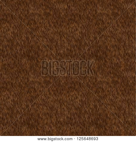 Vector Short Brown Fur Background. Seamless Pattern for Print Design. Animal Skin. Digital Illustration.