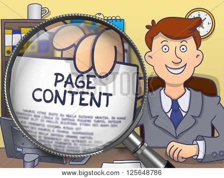 Page Content on Paper in Man's Hand through Magnifier to Illustrate a Business Concept. Colored Doodle Style Illustration.