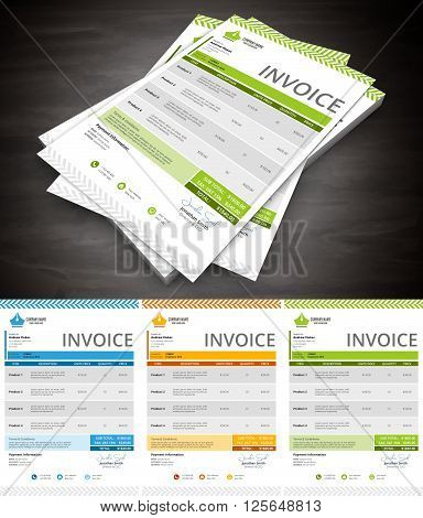 Vector illustration of creative and colorful invoice template.