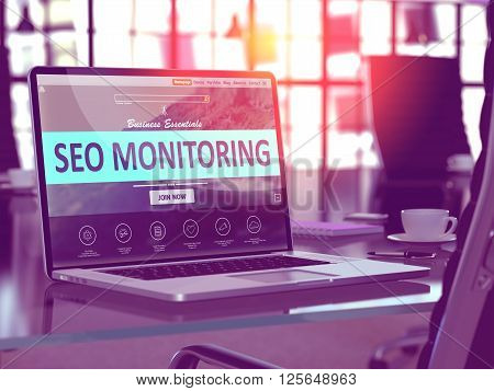 SEO Monitoring Concept. Closeup Landing Page on Laptop Screen  on background of Comfortable Working Place in Modern Office. Blurred, Toned Image. 3D Render.