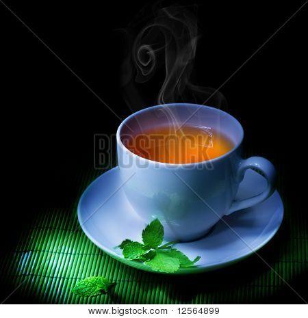 Tea And Mint isolated on black