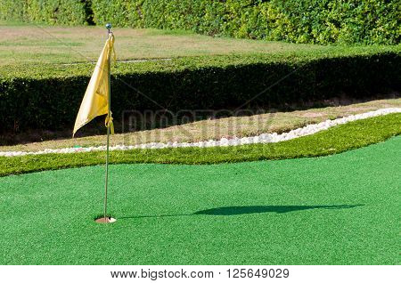 Mini golf with hole on green and flag in the evening