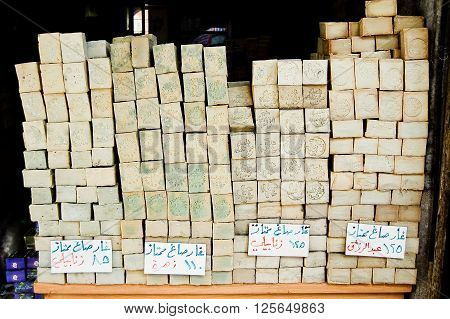 12 february 2007-damascus-sirya-shop selling soap in the city of Aleppo Syria