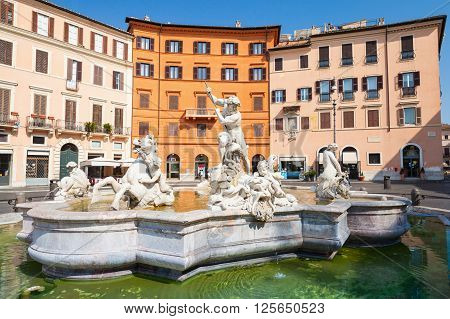 Piazza Navona, Neptune Fountain. Rome, Italy