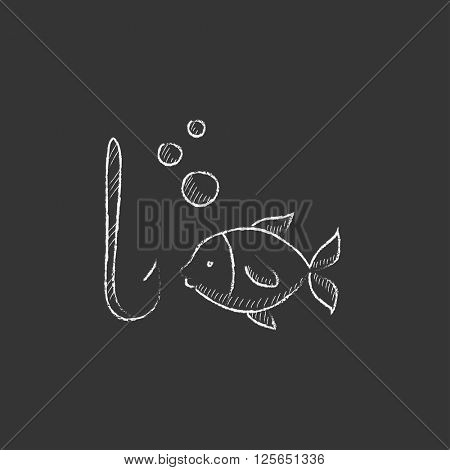 Fish with hook. Drawn in chalk icon.