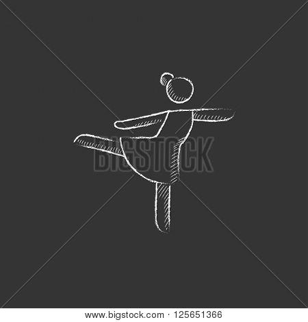 Female figure skater. Drawn in chalk icon.