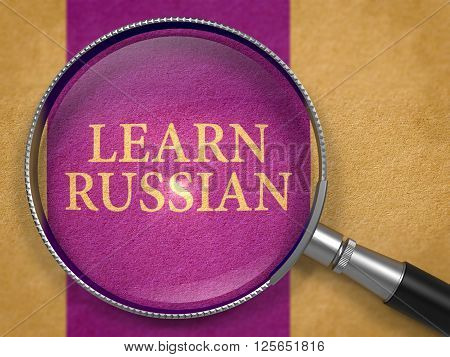 Learn Russian through Magnifying Glass on Old Paper with Dark Lilac Vertical Line Background. 3D Render.
