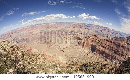 Fisheye Lens Picture Of The Grand Canyon South Rim.