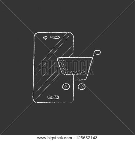 Online shopping. Drawn in chalk icon.
