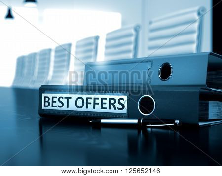 Ring Binder with Inscription Best Offers on Black Table. Best Offers. Business Illustration on Blurred Background. 3D Render.