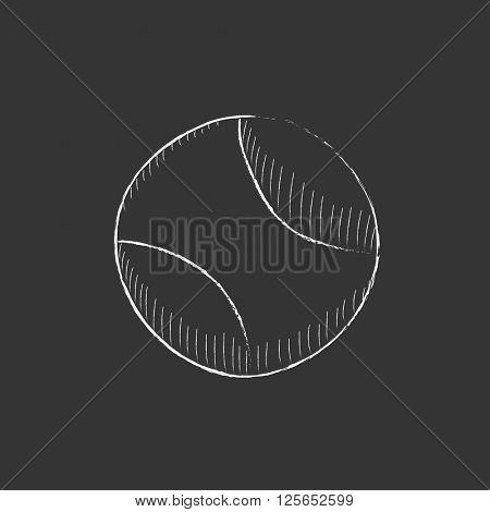 Tennis ball. Drawn in chalk icon.