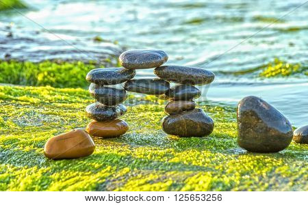 Pebble beach gate side moss morning with colorful pebbles piled each represents culmination meditation on peaceful, serene green of moss to more fresh freshness  welcome new day happy