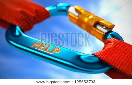 Help on Blue Carabine with a Red Ropes. Selective Focus. 3D Rendering.