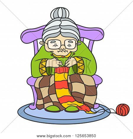Grandmother knits. vector illustration on white background