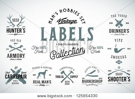 Set of Vintage Icons, Labels or Logo Templates With Retro Typography for Mens Hobbies Such as Hunting, Arms, Dog Breeding, Car Repair, etc. Isolated.