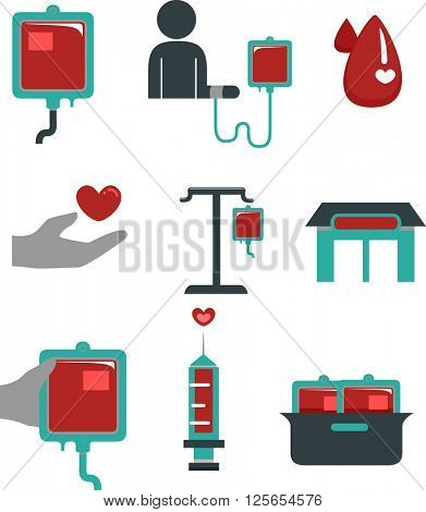 Flat Illustration Featuring Blood Donation Elements