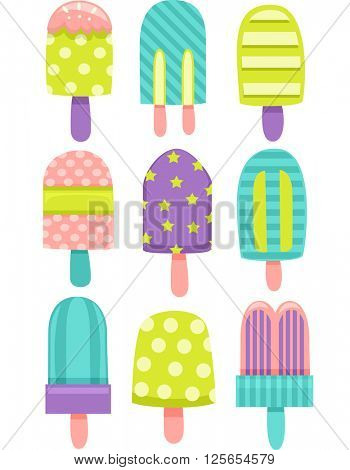 Flat Illustration Featuring Colorful Popsicles