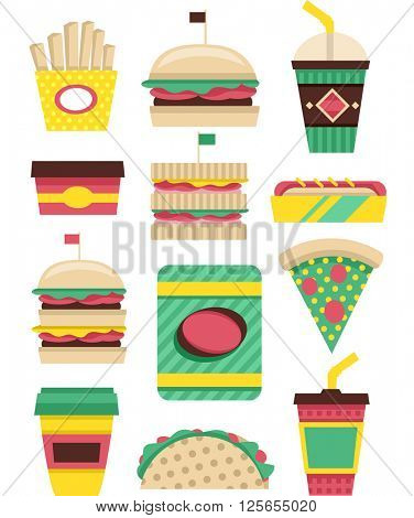 Flat Illustration Featuring Patterned Fast Food Elements