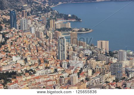 Aerial view of the Principality of Monaco - Monte-Carlo Beausoleil Le Larvotto