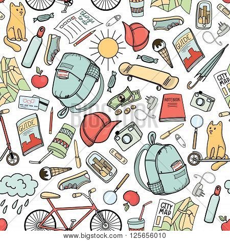 Summer in the city colorful hand drawn seamless pattern. Urban tourist necessities. Vector background