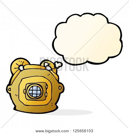 cartoon old deep sea diver helmet with thought bubble