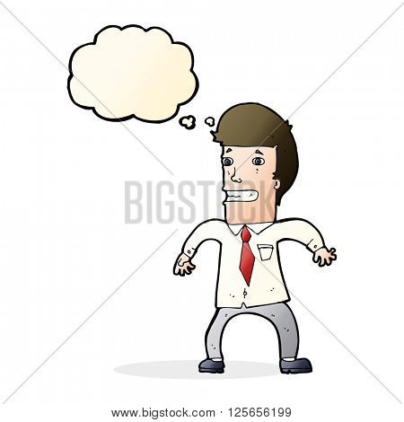 cartoon nervous businessman with thought bubble